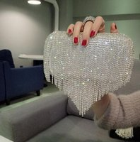 New Rhinestones Heart Tassel Women Clutch Bags Diamonds Fing...