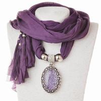 Colgante bufanda joyas con cuentas Mixed Colorful Scarves Charms collar de piedras preciosas 14 colores
