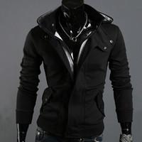Hoodies Atacado-VENDA - quente primavera e outono Seção capuz Cardigan escovado homens Slim Fit Zipper mangas compridas com capuz # 1514490