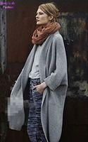 Wholesale- Boyfriend style Solid Color V neck Loose Knit Cardigan Vintage Women's Kimono Sweater Leisure Knitwear Jumper Shawl Coat