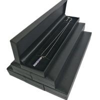 6 Pcs Noir Bijoux Boîte D'affichage de Haute Qualité Leatherette Perle Chaîne Bracelet Paquet Cas Collier De Stockage De Cadeau Boîte 22.6 * 5 * 2.5 cm
