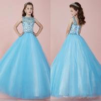 2021 Işık Gökyüzü Mavi Güzel Uzun Kızın Pageant Elbiseler Sheer Ekip Boyun Boncuklu Kristaller Korse Geri Tül Prenses Çiçek Kız Elbise