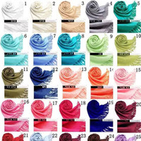 2018 40 Colors Hot Pashmina Cashmere Solid Shawl Wrap Women&...