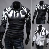 새로운 남성 디자이너 폴로 셔츠 봄, 가을 브랜드 면화 옷 인쇄 고급 셔츠 슬림 셔츠 - 긴팔 셔츠