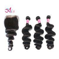Nouveau Style Indien Brésilien Malaisien Péruvien Human Cheveux Humains 3 Bundles Libre Wave Hair Weave avec une fermeture de dentelle gratuite