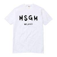 Toptan-Yüksek Kaliteli Erkekler / Kadın MSGM T Gömlek Yaz Çift Marka Mektup Baskılı Tee Rahat Pamuk Kısa Kollu O-Boyun Tshirt Tops