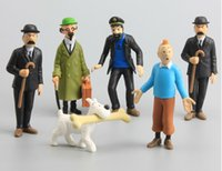 Lotto 6 pezzi Le avventure di Tintin Snowy Captain Haddock Action PVC Figure Doll Play set Toy Figurine Cake Topper Gift 4-9cm