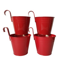 8 Photos Wholesale Metal Hanging Baskets Online   Metal Planter Pot Garden  Red Color Iron Pot Flower Hanging