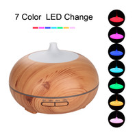 Atacado Madeira 300ml Aroma Difusor de óleo essencial com LED Light Wood Grain Humidificador ultra-sônico para escritório Home Bedroom Study Yoga Spa