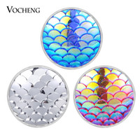 VOCHENG NOOSA Chunks Vocheng Resina Ginger Snap Charms Base in metallo di rame 7 colori 18mm con bottone a pressione Charms Vn-1829