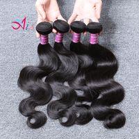 6A onda de água corporal 4 pçs / lote Produtos de cabelo barato malaio brasileiro peruano peruano indiano camboja cabelo pacotes cor 1b entrega rápida shippin grátis