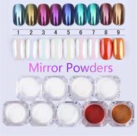 Spegel Nail Glitter Pigment Pulver 1g Guld Blå Lila Damm Manicure Nail Art Glitter Chrome Powder Decorations