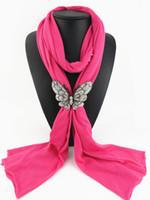 Llanura de color sólido imán de mariposa hebilla Bufandas joyería COLLAR PENDIENTE PENDIENTE para las mujeres 8 colores