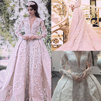 Luxury Ball Gown Wedding Dresses 2017 Sexy Sheer Crew Neckli...