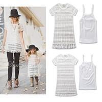 새로운 여름 가족 드레스 세트 엄마 소녀 드레스 드레스 레이스 짧은 소매 드레스 엄마와 딸 Tasssel 꽃 캐주얼 드레스 2pcs 세트 A6185