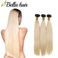 Bellahair Brazilian Virgin Hair Weaves 1B / 613 Blond Ombre Hair Bundles Extensions 스트레이트 인간의 머리 위사 3pcs / lot 대량