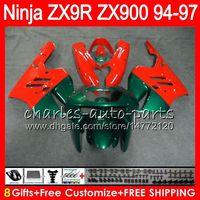 8Geschenke 23 Farben für KAWASAKI NINJA ZX900 ZX9R 94 95 96 97 900CC 49HM21 rot grün ZX-9R ZX900C ZX 9 R ZX 9R 1994 1995 1996 1997 Verkleidung Kit