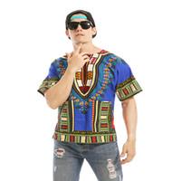Sıcak yaz adam tees Dashiki Odom Nefes Erkekler 'ın Kısa t-Kollu Büyük Boy Baskı Keten T-Shirt Etnik Afrika
