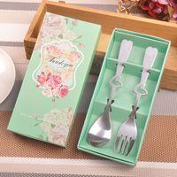2 pcs / set vaisselle en acier inoxydable Vaisselle Set coeur cuillère et une fourchette faveur de mariage cadeau souvenir pour invité ZA3691