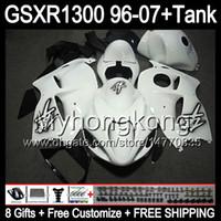 blanco brillante 8gift para SUZUKI Hayabusa GSXR1300 96 97 98 99 00 01 13MY127 GSXR 1300 GSX-R1300 GSX R1300 02 03 04 05 06 07 blanco negro