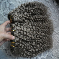 Brasilianisches reines Haar 3 Bündel verworrene lockige graue Haar-Erweiterungen 300g 3pcs brasilianische Haarwebart bündelt doppelten Einschlagfaden