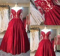 2017 Red Off Shoulder Prom Dresses Lace Appliques Beaded Lon...