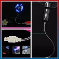 Neuer heißer verkaufender mini flexibler Zeit LED Schwanenhals Aprogrammable Ventilator USBs mit LED-Licht - kühles Gerät Freies Verschiffen Großhandelsgeschäft