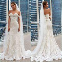 2020 Modest Lace Mermaid Bröllopsklänningar från axelapplikationen Beach Bröllopsklänning Korsett Plus Storlek Bröllopklänningar Skräddarsy