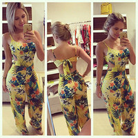 Wholesale- 2016 Women Jumpsuits Rompers Lady Yellow Clubwear Summer Backless Bandage Playsuit Bodycon Party Trousers Size S to XL