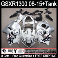 8gifts Per SUZUKI Hayabusa GSXR1300 08 15 GSXR-1300 argento lucido 14MY155 GSXR 1300 GSX R1300 08 09 10 11 12 13 14 15 Carenatura TOP argento Kit