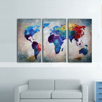 Framed Hot Sell 3 panels Colorful World Map, Pure Handpainte...