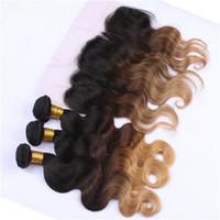 Root escuro # 1B / 4/27 Pacotes de cabelo de onda corporal com laço frontal 13x4 orelha a orelha frontal de renda com mel loira extensões de cabelo