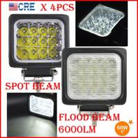 """DHL 4PCS 5 """"60W CREE Chips LED Driving Work Light Square SHAPE 12LED * 5W Offroad SUV ATV Spot Pencil / Flood Beam 6000LM 9-32V Super Ljus"""