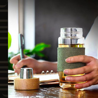 Avrupa Tarzı Ile 400 ML Cam Su Şişesi Çay Demlik Süzgeç Isıya Dayanıklı Seyahat Araba Ofis Içme Şişeleri Çay Fincanı ZA1653