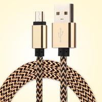 Micro USB Type C 1M 3FT 2.0A Saluto intrecciato di alluminio del metallo del caricatore Cavo adattatore di nylon filo intrecciato cavo per 100PCS Smart phone
