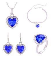 Мода 18K Белое позолоченное покрытие австрийского хрустального океана сердце ожерелье браслет серьги кольцо ювелирных изделий набор для женщин свадебные наборы 4 шт. / Комплект