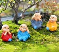 4 pz cartoon monk Figure Figurine Zakka Rein Craft Fairy Garden Miniature Bonsai Strumenti Terrario Micro Paesaggio Gnomi Home Decor
