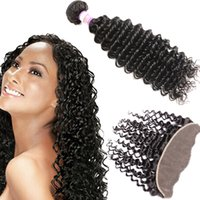 8A Indian Deep Wave Virgin Hair With Lace Frontal Closure In...