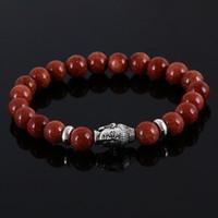 L'occhio di tigre Buddha borda i braccialetti i branelli di pietra i braccialetti di amicizia naturali della pietra per i monili delle donne e degli uomini