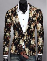 Men in Europe and the us business English new fashion boutique personality floral cotton and linen jackets   M-2XL