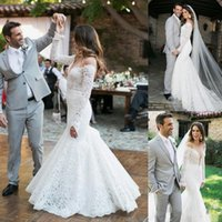 Gorgeous Full Lace Mermaid Wedding Dresses 2018 Sheer Neck L...