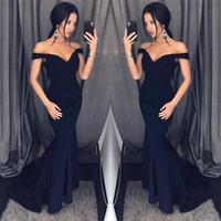 2018 New Sexy Nero Sirena Abiti Da Sera Spalle Prom Dresses Economici Formale Abiti Occasioni Speciali Abiti da Damigella d'onore BA6751