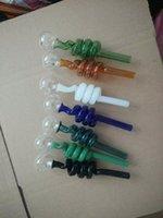 farbiges Glasrohr Helix Spule Rauchpfeifen Curved Mini Ölrohre Hand durchgebranntes Recycler Top-Öl-Brenner