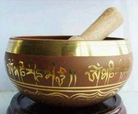 88mm Collectibles Oriental Vieux Rare Superbe Om Tibétain Anneau Gong YOGA Bol Chanter Antique Jardin Décoration Argent Laiton Bol de Chant
