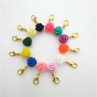 120pcs mischen 12 Farben rosafarbene Blumen Charme baumeln hängende Charme-DIY Armband-Halsketten-Schmucksache-Zusatz-Hummer-Haken, die Charme schwimmen