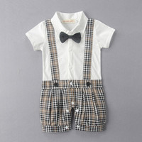 Baby Boy Romper Boys Clothes Short Sleeve Cotton Bow Tie Gen...