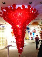 ラグジュアリー大天井灯モダンな赤い花プレートガラスシャンデリアLEDライトソースホテルサロンペンダントランプ