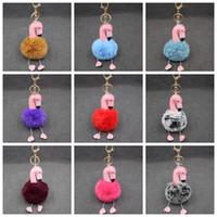 Wholesale key chain parts for sale - Cartoon Flamingo Keychain Lovely  Fluffy Artificial Rabbit Fur Ball 8febc266b9