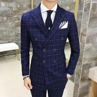 Atacado - 3 Psc 2017 Envmenst marca de alta qualidade dos homens xadrez Suit Set Blazer + colete + calça noivo de casal homem de terno de casamento conjunto