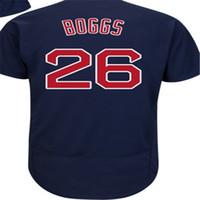 Mens Womens Çocuk Toddlers 26 Wade Boggs Boston Jersey Babalar Günü Moda Flex Baz Koleksiyon Gri Nakış Beyzbol Formaları